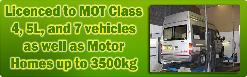 Licenced to MOT Class 4, 5 light, 7 and Motor Homes up to 3500kg